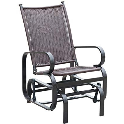 Popular Amazon : Patiopost Glider Chair Outdoor Pe Wicker Patio Rocking In Brown Patio Rocking Chairs (View 15 of 20)