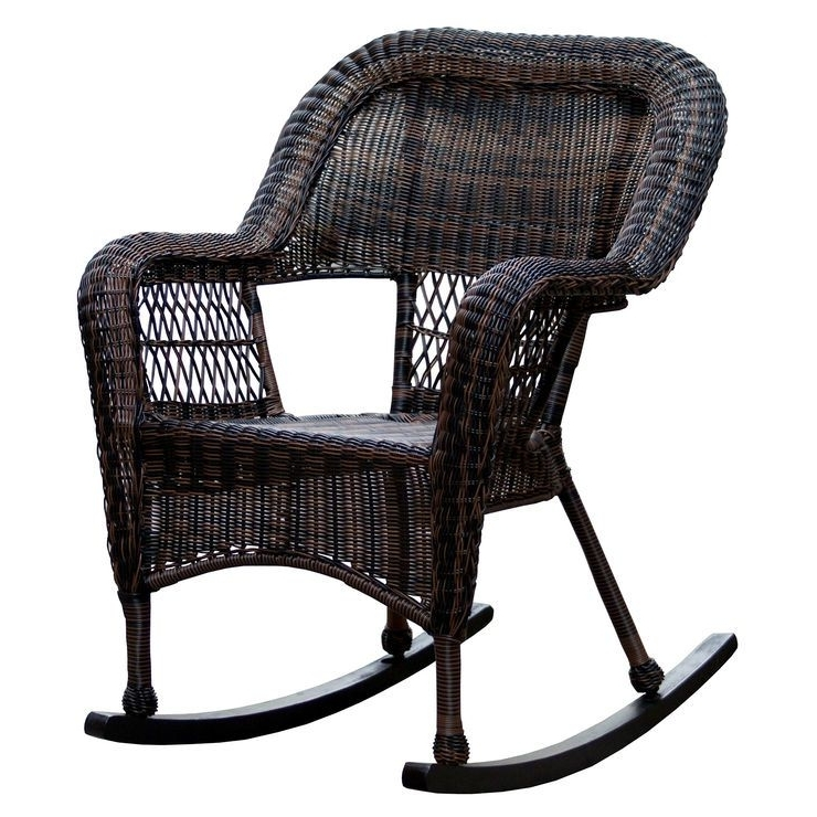 Popular Brown Patio Rocking Chairs With Dark Brown Wicker Outdoor Patio Rocking Chair – $ (View 17 of 20)