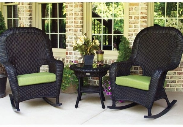 Popular Decorating Black Wicker Rocker Outdoor White Rocking Chairs For In Rattan Outdoor Rocking Chairs (View 12 of 20)