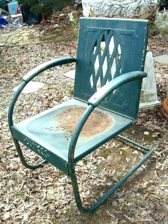 Popular Old Metal Lawn Chairs Old Metal Lawn Chairs Old Metal Rocking Chair Within Vintage Metal Rocking Patio Chairs (View 12 of 20)