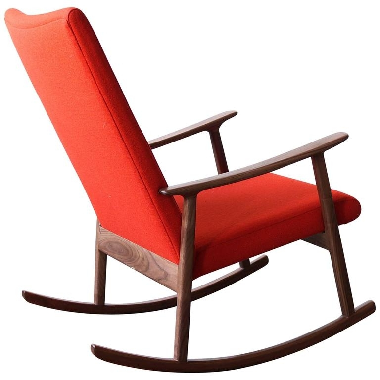 Popular Upholstered Rocking Chairs Within Rc01 Upholstered Rocking Chair In Black Walnut,jason Lewis (View 20 of 20)