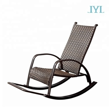 Popular Used Patio Rocking Chairs Inside Cast Aluminum Outdoor Garden Rattan Wicker Rocking Chair For Home (View 6 of 20)
