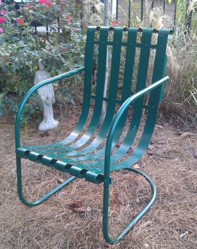 Popular Vintage Metal Rocking Patio Chairs For Retro Metal Slat Lawn Furniture (View 13 of 20)