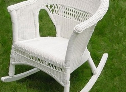 Preferred 55 White Wicker Rocking Chair, 3 Pc Outdoor Patio Coastal White Throughout White Wicker Rocking Chair For Nursery (View 9 of 20)