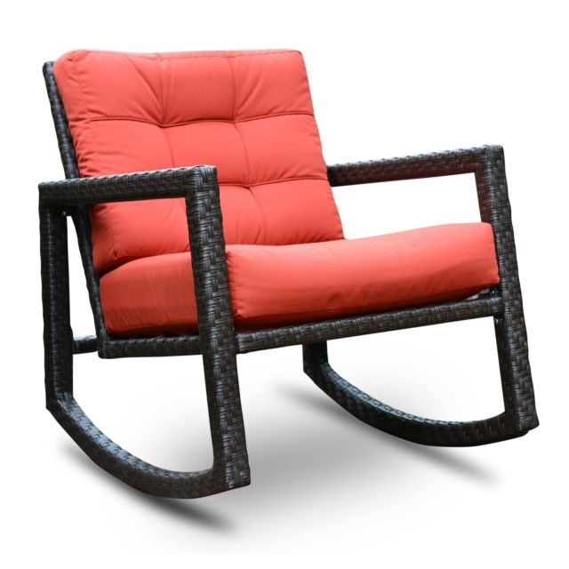 Preferred Algoma Net Company Aura Sunbrella Rattan Rocking Chair With Cushions Within Rocking Chairs With Cushions (View 9 of 20)