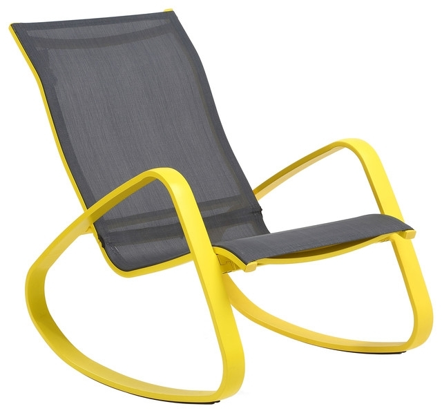 Preferred Eero Aluminum Sling Rocking Chair, Yellow – Contemporary – Outdoor In Yellow Outdoor Rocking Chairs (View 12 of 20)