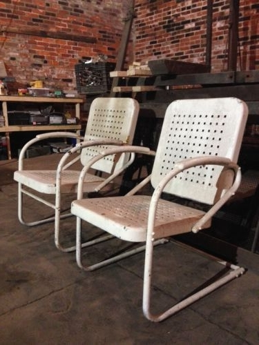 Preferred Vintage Metal Retro Outdoor Chair Rocker Porch Patio Lawn – Pair Inside Retro Outdoor Rocking Chairs (View 10 of 20)