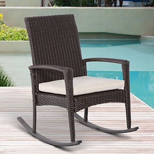 Rattan Outdoor Rocking Chairs In Fashionable Outsunny Rattan Rocking Chair Rocker Garden Furniture Seater Patio (View 13 of 20)