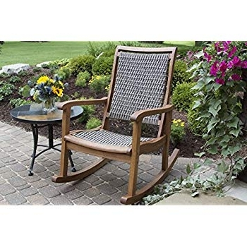 Recent Brown Wicker Patio Rocking Chairs Pertaining To Amazon : Outdoor Interiors Resin Wicker And Eucalyptus Rocking (View 18 of 20)