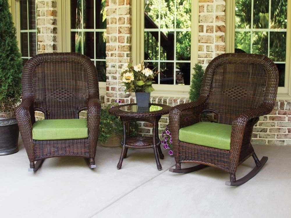 Recent Outdoor Wicker Rocking Chairs Pertaining To Tortuga Outdoor Lexington Wicker 3 Piece Rocker And Side Table Set (Gallery 12 of 20)