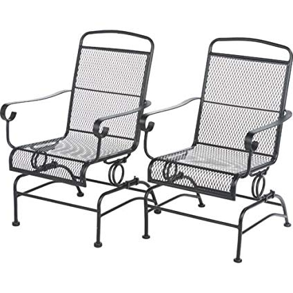 Recent Outside Rocking Chair Sets With Amazon : Outdoor Steel Mesh Patio Rocking Chair Set : Garden (View 2 of 20)