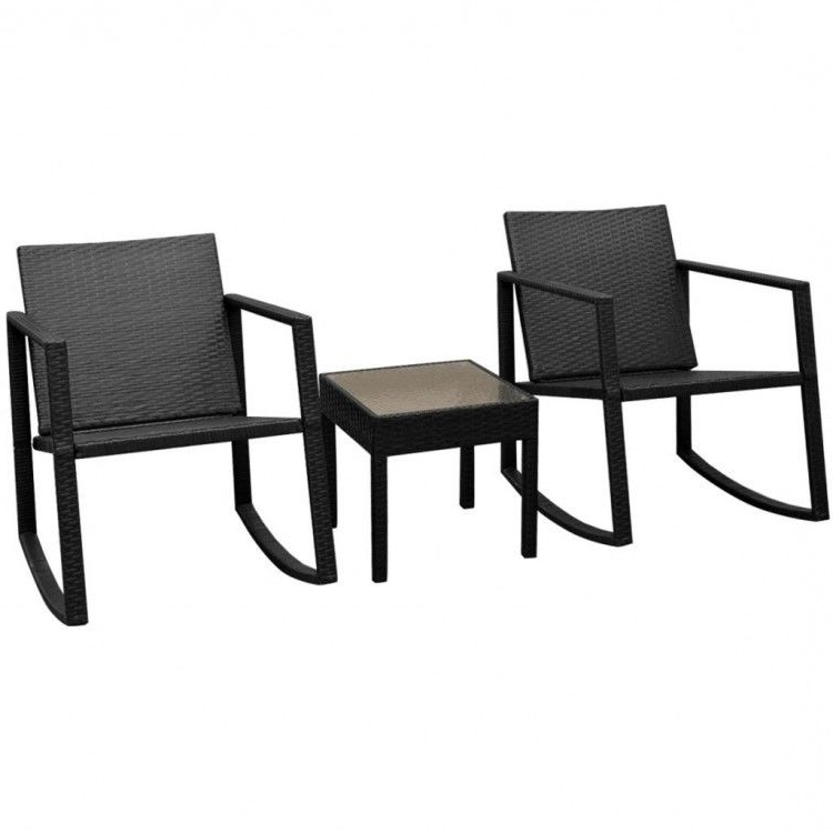 Recent Patio Rocking Chairs And Table Pertaining To Garden Furniture Set Rattan Patio Rocking Chairs Coffee Table Black (Gallery 12 of 20)