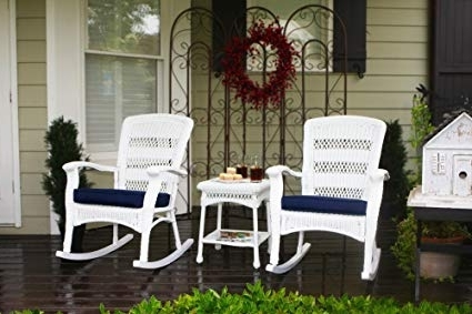 Recent Patio Rocking Chairs Sets With Regard To Amazon : Tortuga Outdoor Plantation Rocking Chair Set – White (View 20 of 20)
