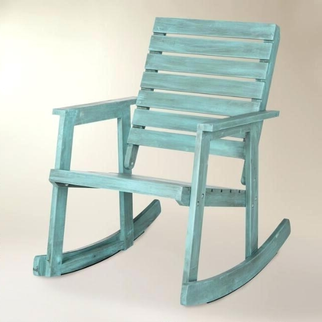 Recent Rocking Chairs For Porch Throughout Wood Patio Rocking Chairs Outdoor Sale Glamorous Chair At Sea Blue (View 10 of 20)