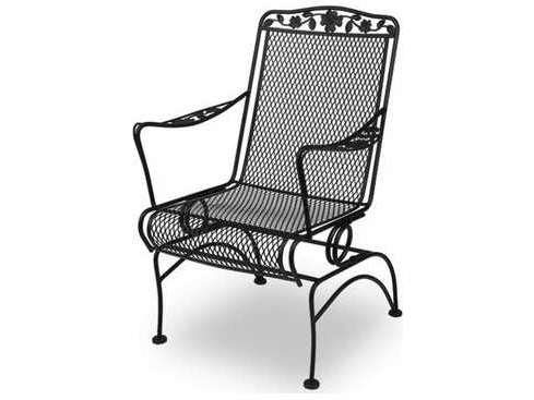 Recent Wrought Iron Patio Rocking Chairs In Meadowcraft Dogwood Wrought Iron Coil Spring Dining Chair – Price (Gallery 1 of 20)