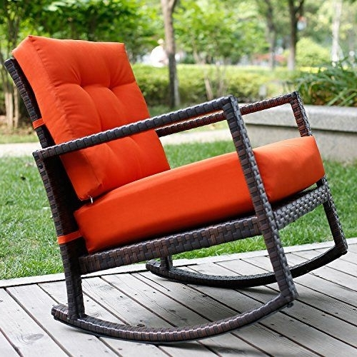 Red Patio Rocking Chairs In Latest Merax Cushioned Rattan Rocker Chair Rocking Armchair Chair Outdoor (View 8 of 20)