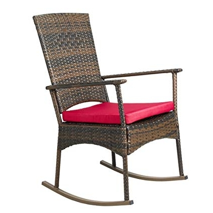 Red Patio Rocking Chairs Intended For Most Popular Amazon : Apex Living Kd Wicker Rocking Chair Patio Leisure Chair (View 7 of 20)