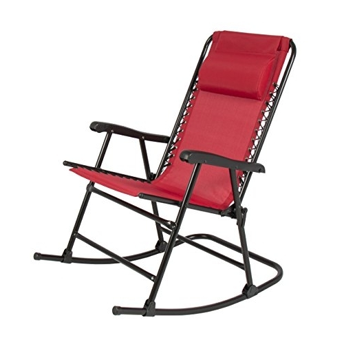 Red Patio Rocking Chairs With Regard To Most Current Folding Rocking Chair Foldable Rocker Outdoor Patio Furniture Red (View 4 of 20)
