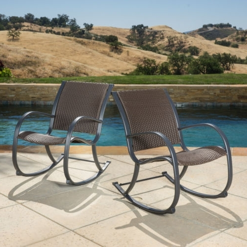 Resin Wicker Rocking Chairs Intended For Best And Newest Rocking Chair Resin Wicker Seat Outdoor Poolside Patio Dark Brown (View 11 of 20)