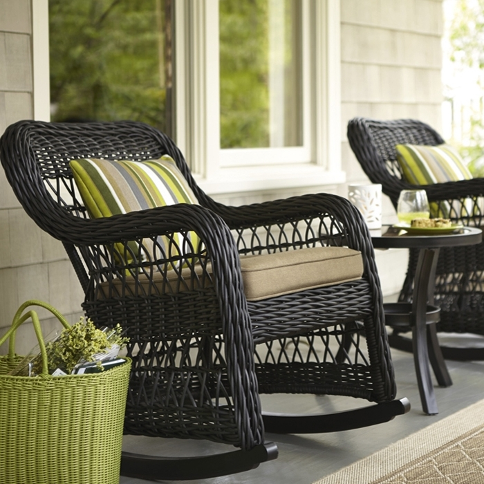 Rocking Chair Design: Lowes Outdoor Rocking Chairs Wicker Rocker Throughout Widely Used Padded Patio Rocking Chairs (View 19 of 20)