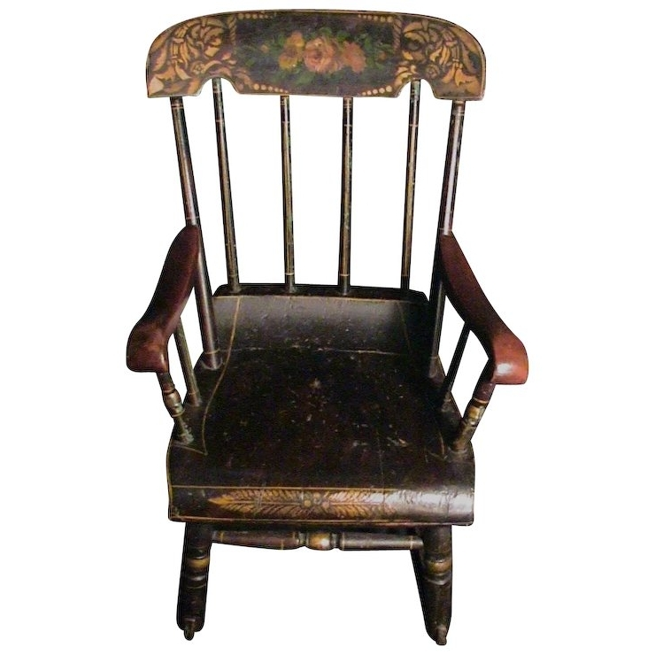 Rocking Chairs At Roses Pertaining To Most Popular Antique Child's Rocking Chair Roses & Stenciled 19Th C (View 13 of 20)