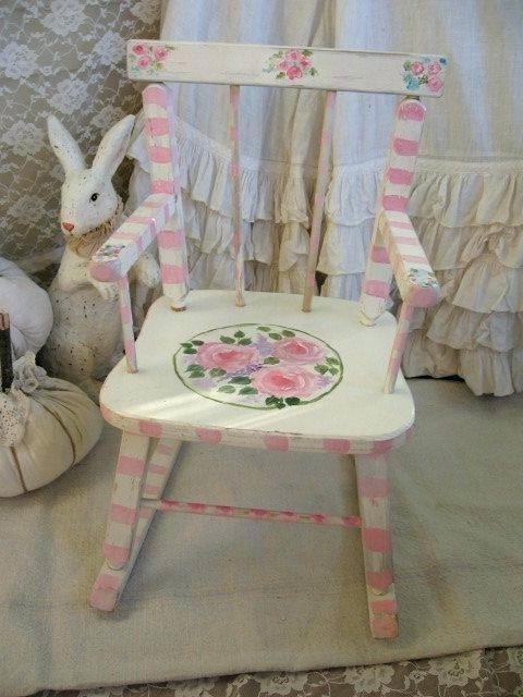 Rocking Chairs At Roses Within Famous Childrens Pink Rocking Chair Childs Rocking Chair Cushion Shabby (View 17 of 20)