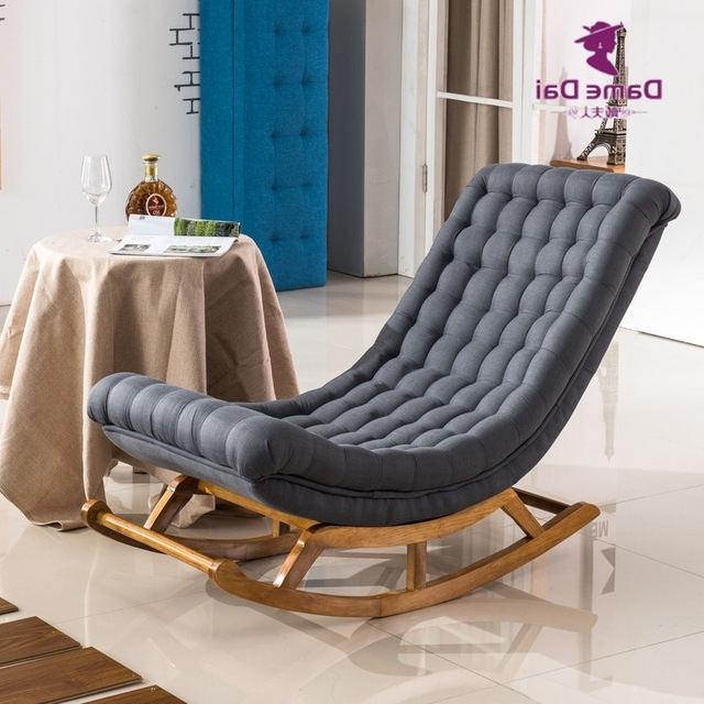 Rocking Chairs For Adults Throughout 2018 Modern Design Rocking Lounge Chair Fabric Upholstery And Wood For (View 18 of 20)