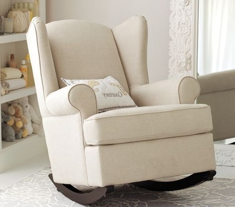 Rocking Chairs For Baby Room Pertaining To Most Up To Date Pb Kids Upholstered Rocking Chair For Baby Nursery Furniture (View 3 of 20)