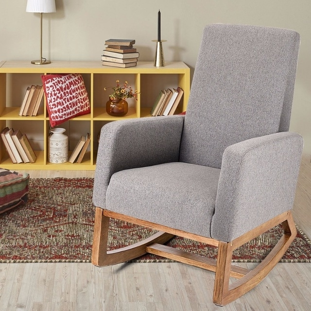 Rocking Chairs For Living Room Pertaining To Favorite Giantex Mid Century Retro Modern Fabric Upholstered Rocking Chair (View 17 of 20)