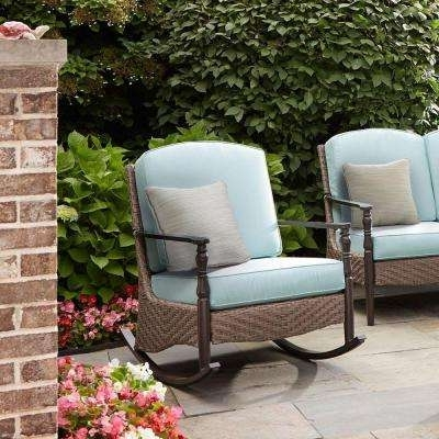 Rocking Chairs – Patio Chairs – The Home Depot Inside Well Known Resin Wicker Patio Rocking Chairs (View 17 of 20)