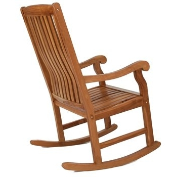 Rocking Chairs With Lumbar Support Intended For Most Recent Rocking Chairs: Teak Rocking Chair With Gently Sloped Seat Curved (View 18 of 20)