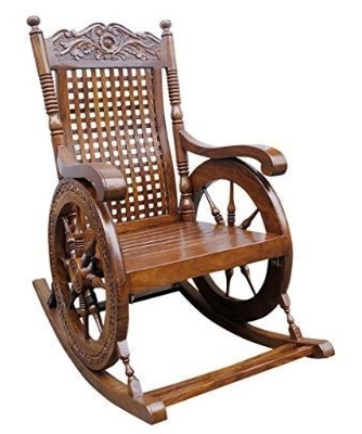 Shilpi Aamazing Hand Carved Rocking Chair: Amazon (View 13 of 20)