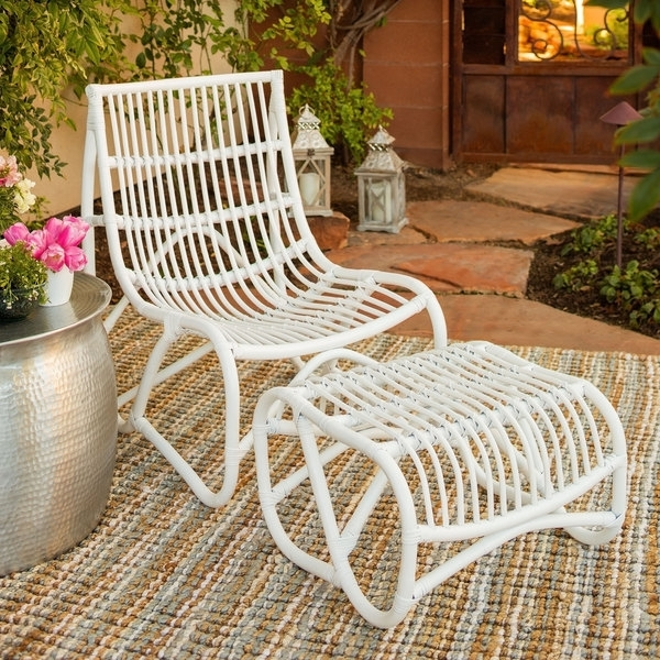 Shop Safavieh Shenandoah White Wicker Chair And Ottoman Set – Free Throughout Well Known Patio Rocking Chairs With Ottoman (View 9 of 20)