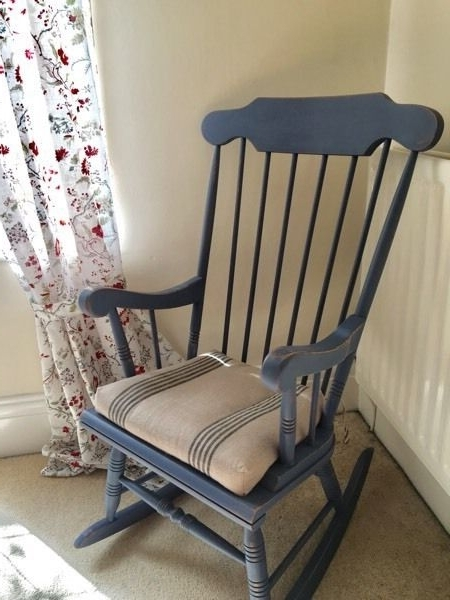 Solid Pine Rocking Chair • Upcycled • Annie Sloan Old Violet (View 10 of 20)