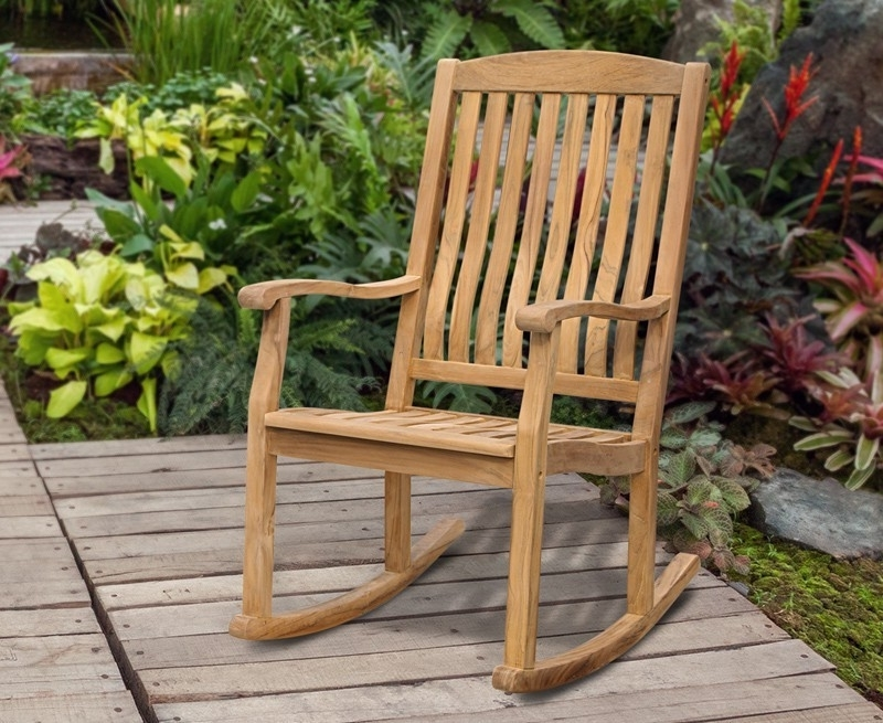 Teak Garden Rocking Chair, Outdoor Patio Rocker In Popular Rocking Chairs For Outdoors (View 17 of 20)