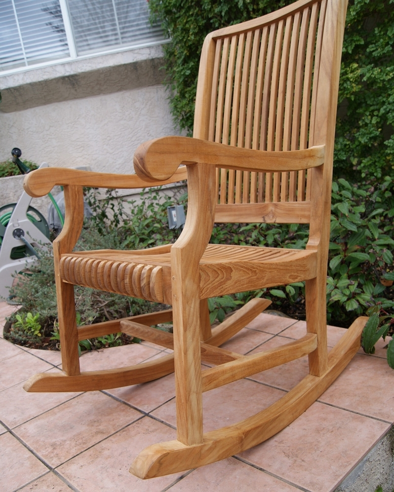 Teak Patio Rocking Chairs In Most Current Outdoor Rocking Chair (View 4 of 20)