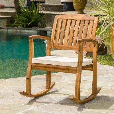 Teak Patio Rocking Chairs Throughout Well Known Teak – Rocking Chairs – Patio Chairs – The Home Depot (View 20 of 20)