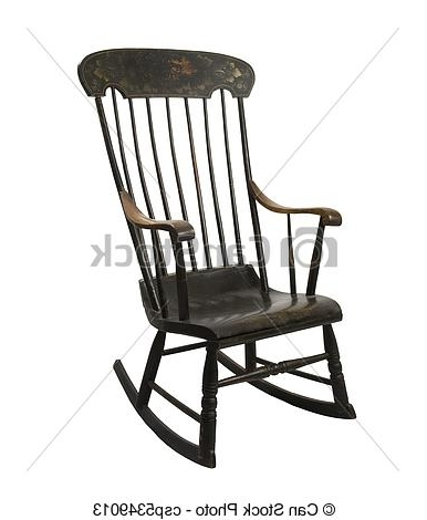 Trendy Antique Rocking Chairs Inside Vintage Rocking Chair On A White Background (View 19 of 20)