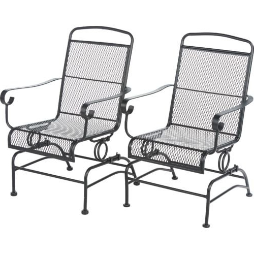 Trendy Black Patio Rocking Chairs Regarding Amazon : Outdoor Steel Mesh Patio Rocking Chair Set : Garden (View 17 of 20)