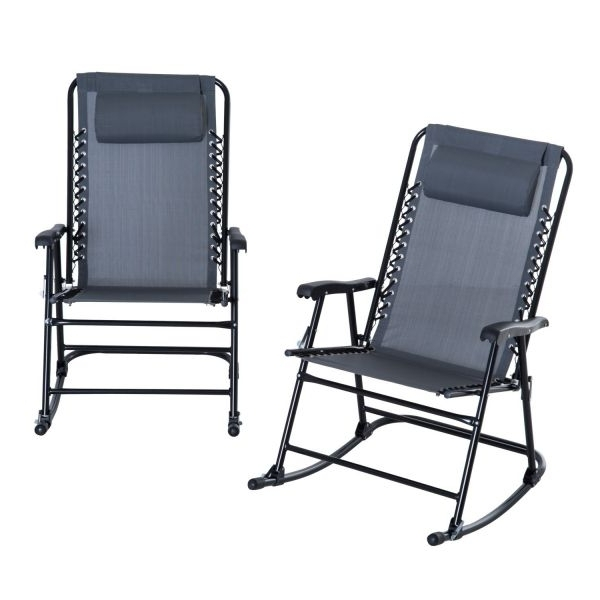 Trendy Outsunny 2 Piece Mesh Outdoor Patio Folding Rocking Chair Set Garden Pertaining To Rocking Chairs For Patio (View 20 of 20)