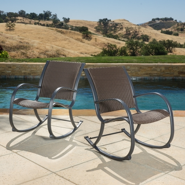 Trendy Patio Rocking Chairs And Table Regarding Shop Gracie's Outdoor Wicker Rocking Chair (Set Of 2)Christopher (View 18 of 20)
