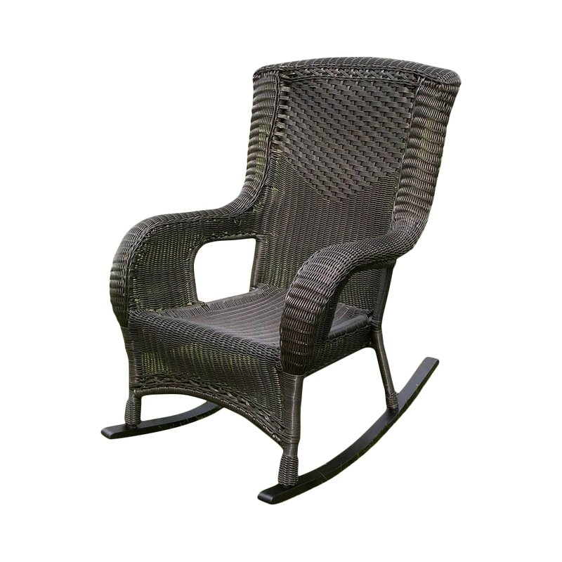 Trendy Resin Patio Rocking Chairs With Wellington Wicker Resin Aluminum High Back Patio Rocking Chair (View 14 of 20)