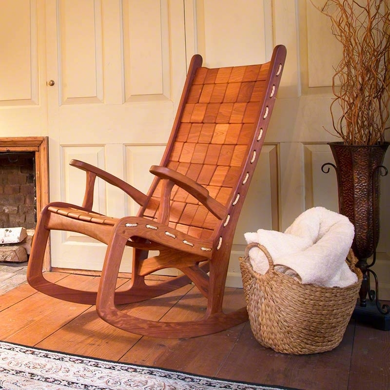 Unique Outdoor Rocking Chairs With Regard To Newest Unique Quilted Vermont Rocking Chair. Hand Made Eco Friendly, Green (Gallery 1 of 20)