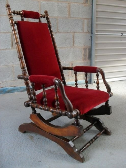 Victorian American Beechwood Turned Rocking Chair (Gallery 6 of 20)
