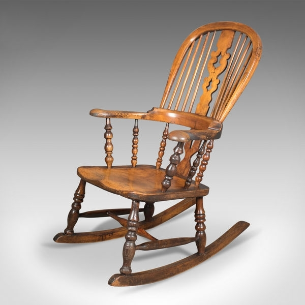 Victorian Antique Windsor Rocking Chair, English Armchair, Yorkshire For Most Popular Victorian Rocking Chairs (View 11 of 20)