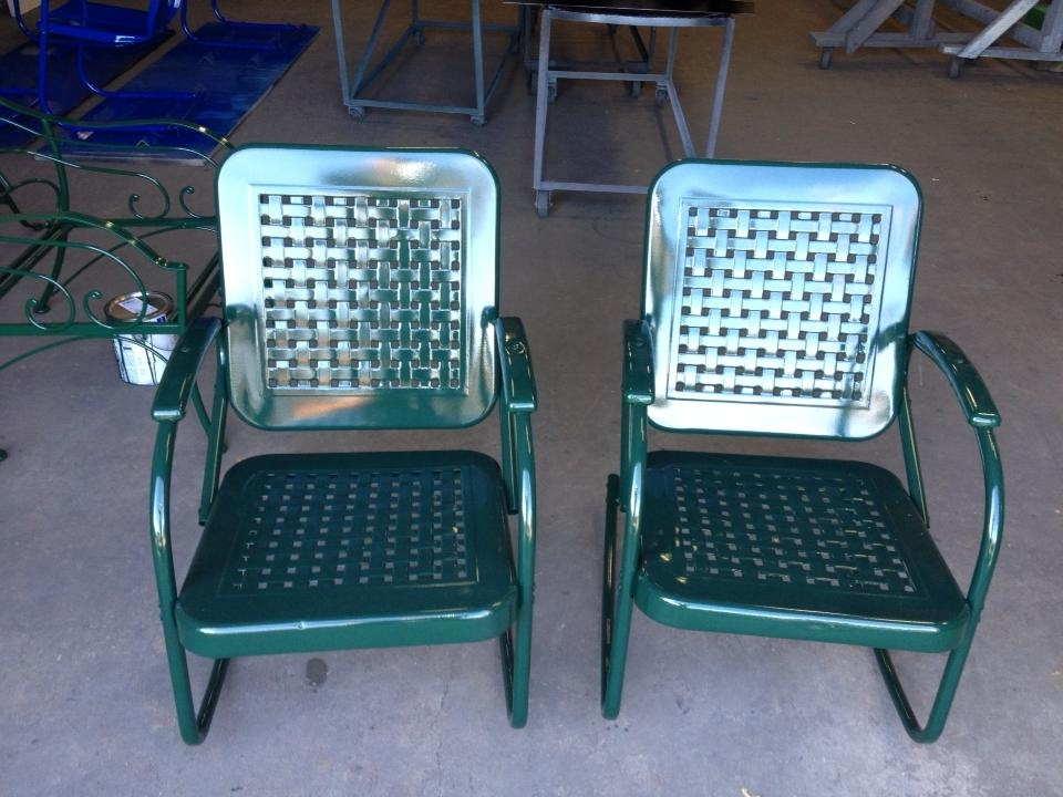 Vintage Metal Rocking Patio Chairs Throughout Preferred Interesting Stunning Vintage Metal Lawn Chairs Metal Lawn Furniture (View 15 of 20)