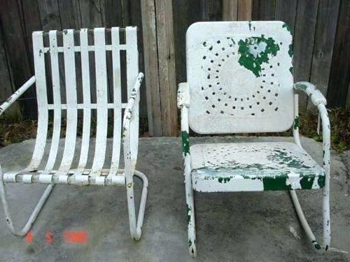 Vintage Metal Rocking Patio Chairs With Regard To Most Up To Date Retro Metal Lawn Chairs – Rohitkrai (View 18 of 20)