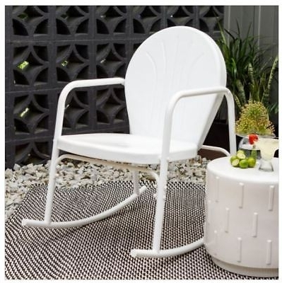 Vintage Outdoor Rocking Chairs Pertaining To Trendy White Retro Metal Vintage Outdoor Rocker Rocking Chair Patio (Gallery 16 of 20)
