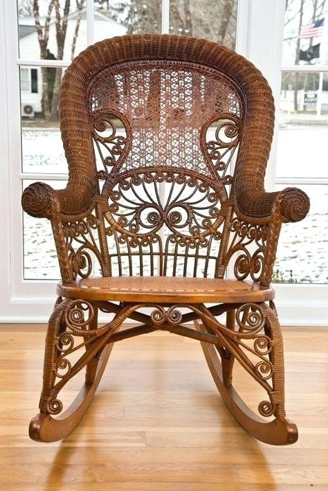 Vintage Wicker Rocking Chairs Pertaining To Well Known Antique Wicker Rocker Ebay Rocking Chair – Medicinalcannabisnews (View 19 of 20)