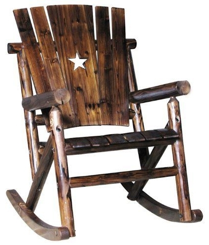 Well Known Char Log Patio Rocking Chairs With Star In Char Log Single Rocker With Star, Http://www (View 18 of 20)